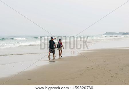 Romantic Stroll At Seaside