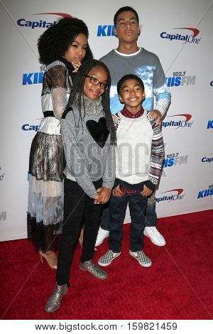 LOS ANGELES - DEC 2:  Yara Shahidi, Marcus Scribner, Marsai Martin, Miles Brown at the 102.7KIIS FM's Jingle Ball 2016 at Staples Center on December 2, 2016 in Los Angeles, CA