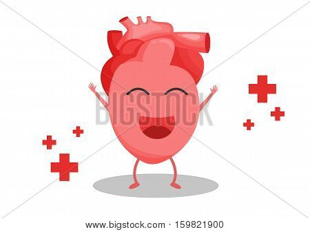 vector cartoon happy heart with red cross chapter meaning the positive mind makes the heart happy as well.