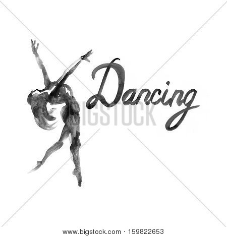 Watercolor illustration ballerina icon in dance. Design poster ballet school, dance studio