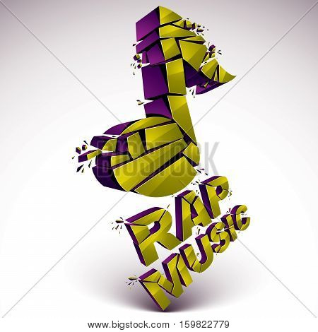 Green 3D Vector Shattered Musical Note With Specks And Refractions. Dimensional Facet Design Music D