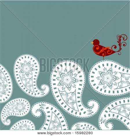 Paisley with bird