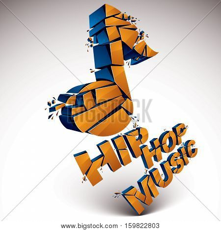 Orange 3D Vector Shattered Musical Note With Specks And Refractions. Dimensional Facet Design Music