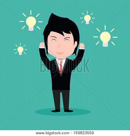Businessmen With An Idea, With The Light Bulb
