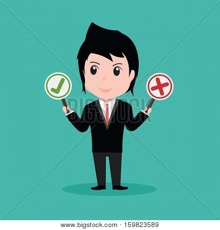 Businessman Holding Right And Wrong Signs, Cartoon