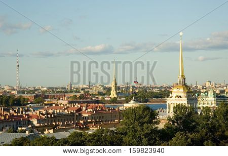 Landmarks Of St.petersburg. View From St.isaac's Cathedral To The Admiralty, Peter And Paul Fortress