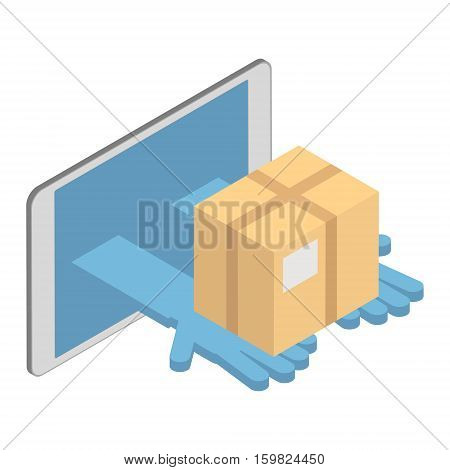 The concept of delivery of goods. Delivery interent. Vector isometric