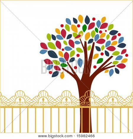Colorful tree - bird and fence
