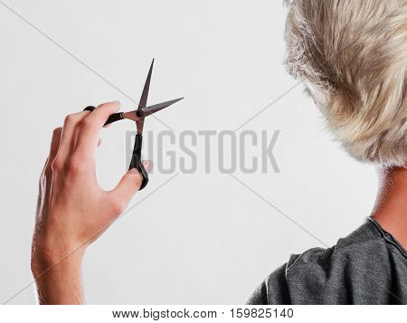 Man With Scissors Ready To Hair Cutting