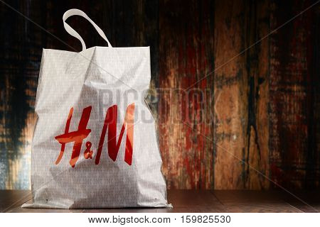 POZNAN POLAND - NOV 25 2016: H & M Hennes & Mauritz AB is a Swedish multinational clothing-retail company It operates over 4000 stores in 62 countries worldwide