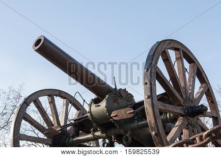 old style cannon on wheels. Vintage weapon
