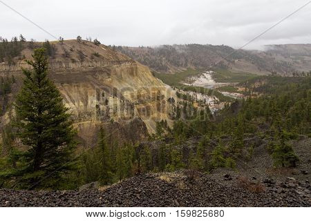 This is the view from a pullout along the Yellowstone River in Yellowstone National Park USA.