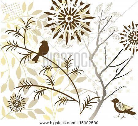 birds flowers tree