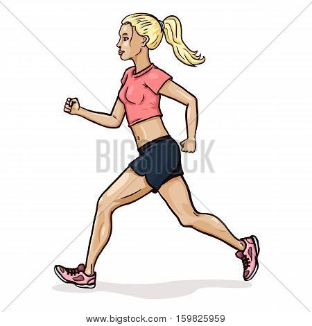 Vector Cartoon Female Character. Jogging Young Woman.