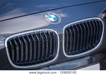 VARNA BULGARIA - MARCH 17 2016: View of a front grille and logo of a BMW. BMW is a German automobile motorcycle and engine manufacturing company founded in 1916.