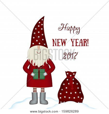 Nisse Santa Claus scandinavian folk style, nordic Christmas motive in red coat with bag and gift, isolated on white background, vector illustration