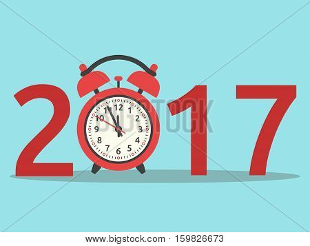 Happy New Year 2017 with red clock on blue background. New year happy and christmas concept. Flat design. Vector illustration. EPS 8 no transparency