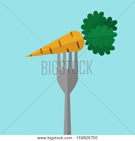 Orange ripe juicy carrot on fork on blue background. Diet snack and healthy eating concept. Flat design. Vector illustration. EPS 8 no transparency