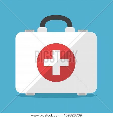 White first aid kit isolated on blue background. Health help and medical diagnostics concept. Flat design. Vector illustration. EPS 8 no transparency