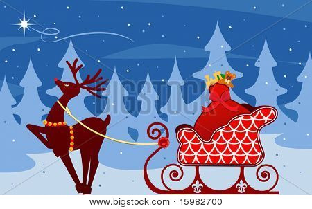 reindeer with sleigh  looking to star