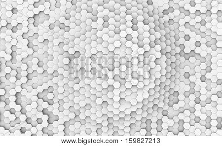 Abstract white hexagonal cells wall 3D rendering background.