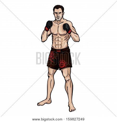 Vector Cartoon Color Illustration - Muscular Mma Fighter
