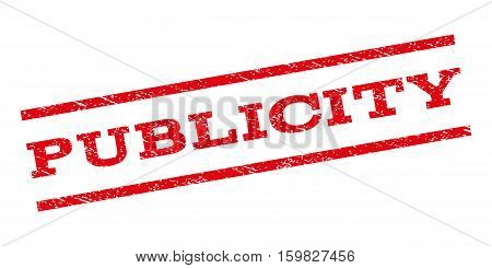 Publicity watermark stamp. Text caption between parallel lines with grunge design style. Rubber seal stamp with unclean texture. Vector red color ink imprint on a white background.