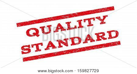 Quality Standard watermark stamp. Text caption between parallel lines with grunge design style. Rubber seal stamp with dust texture. Vector red color ink imprint on a white background.
