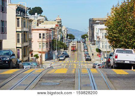 Cable Car In San Francisco, Usa