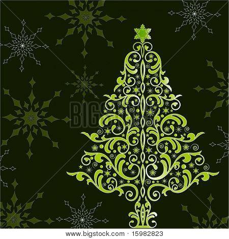 beautiful stylized christmas tree poster