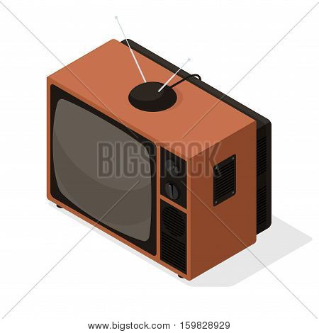 Isometric vector icon of retro television tv set with aerial on the top. Old style isometric 3d TV illustration isolated on white background