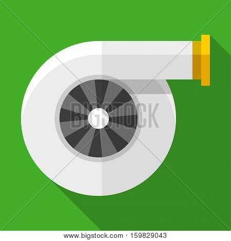 Colorful turbocharger icon in modern flat style with long shadow. Car parts and service vector illustration