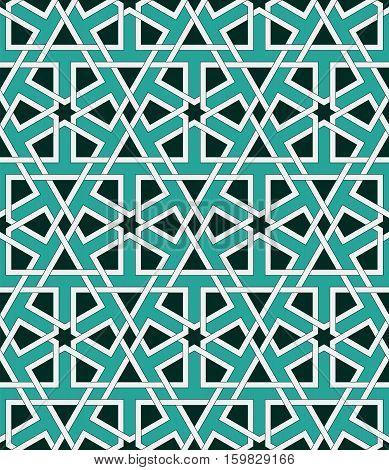 Islamic geometric ornaments based on traditional arabic art. Oriental seamless pattern. Muslim mosaic. Colorful vector illustration. Arabian tile. Mosque decoration element.