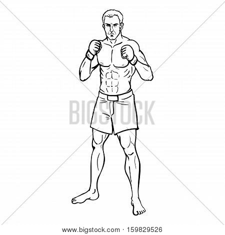Vector Line Art Illustration - Muscular Mma Fighter