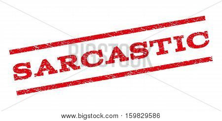 Sarcastic watermark stamp. Text tag between parallel lines with grunge design style. Rubber seal stamp with unclean texture. Vector red color ink imprint on a white background.