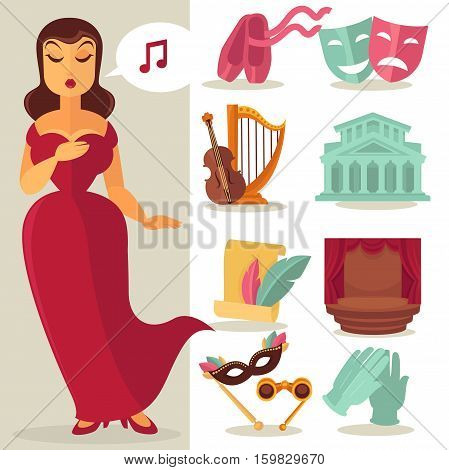 Theatre acting performance icons set with singing actress. Vector Illustration.