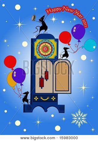 happy new year mice clock balloons