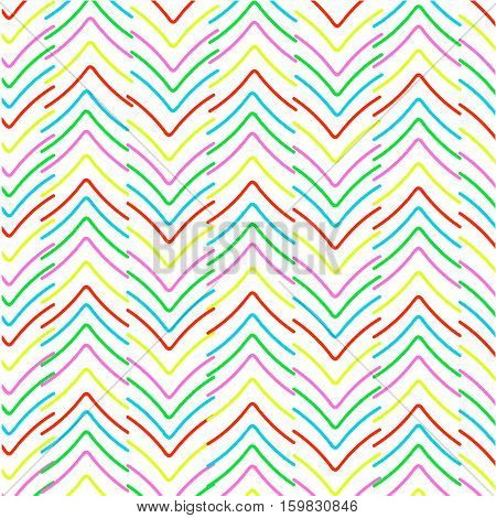 Simple colorful herringbone pattern. Multicolored vector seamless pattern. Abstract hand drawn background.