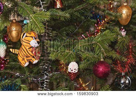 Christmas-tree decorations on a christmas fur-tree .