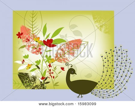 peacock with foliage