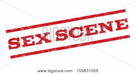 Sex Scene watermark stamp. Text caption between parallel lines with grunge design style. Rubber seal stamp with scratched texture. Vector red color ink imprint on a white background.