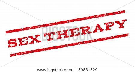 Sex Therapy watermark stamp. Text caption between parallel lines with grunge design style. Rubber seal stamp with unclean texture. Vector red color ink imprint on a white background.