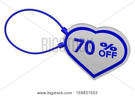 Heart tag with sign discount 70 % off isolated on white background. 3D rendering.