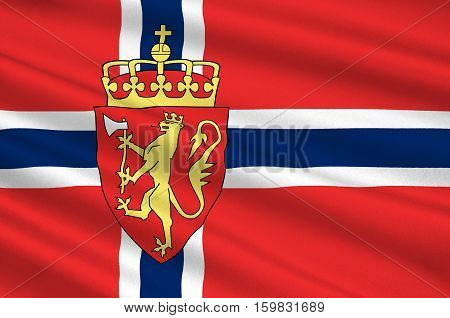 Flag of Kingdom of Norway is a sovereign and unitary monarchy of the Scandinavian Peninsula. 3d illustration
