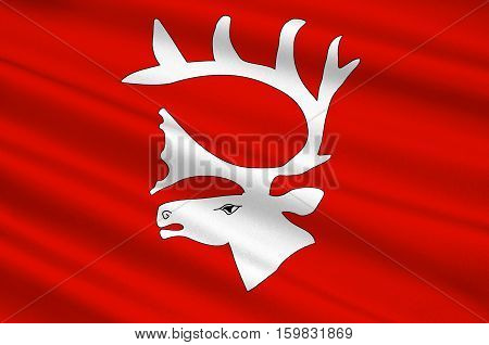 Flag of Vadso is a municipality in Finnmark County Norway. 3d illustration