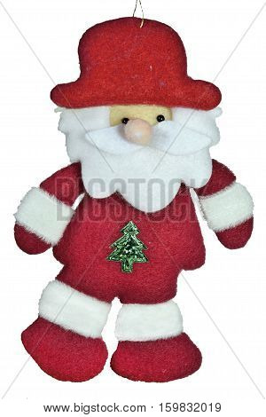 Felted soft toy Santa Claus isolated on a white background