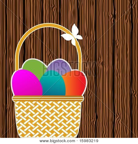 easter basket with colored eggs sitting against fence