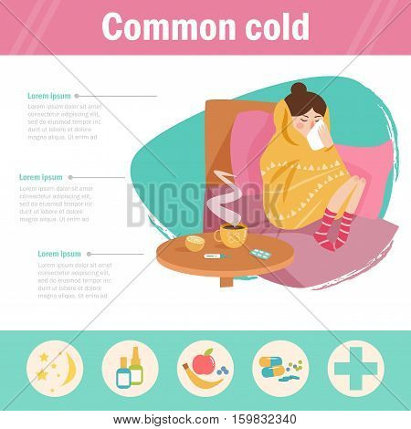 Common cold. Infographics, the flu. Woman on sick leave. Vector. Cartoon. Isolated. Flat Illustration for websites brochures magazines Medicin