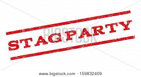 Stag Party watermark stamp. Text caption between parallel lines with grunge design style. Rubber seal stamp with scratched texture. Vector red color ink imprint on a white background.