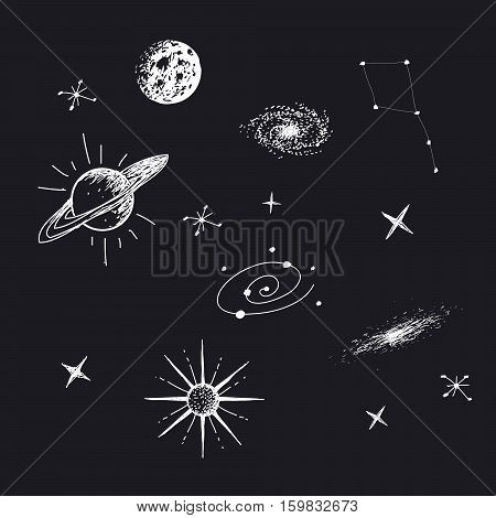 Vector illustration of universe with galaxy, planets, stars, constellation. Hand drawn style .Set of galactic objects